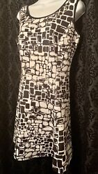 Neiman Marcus polyester casual cocktail black amp; white women#x27;s dress size large $20.00