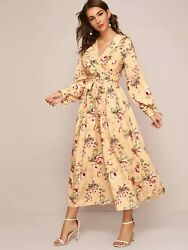 Long Sleeve Floral Maxi Dress with Ruffles $16.50