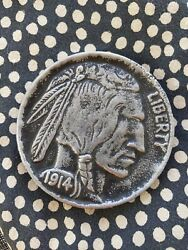 SALE PRICE BIG novelty Buffalo nickel paperweight magic tricks collectible $5.00