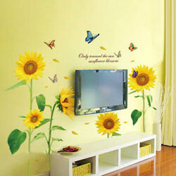 New Sunny Sunflower Flower Home Stickers Removable Sticker Floral Mural Room $10.29