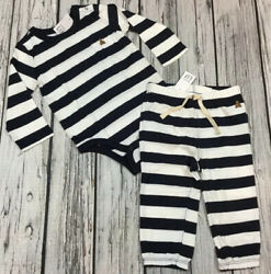 Baby Gap Boys 3 6 Months Navy Blue amp; White Striped Shirt amp; Pant Outfit. Nwt $22.99