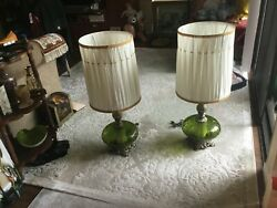 Mint Vintage Pair Table Floor Lamps Brass Green Glass Shades Extra Night Light $340.00