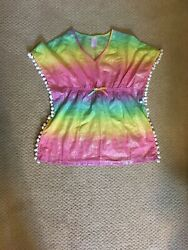 More Than Magic Girls Beach Cover Up Pink Rainbow Ombre XS 4 5 EUC $4.70