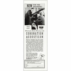 1937 Acousticon: Graciously Better Hearing With Coronation Vintage Print Ad $6.50