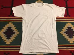 Vintage NOS HANES 1989 Plain White Single Stitch T Shirt Size Medium USA Made $19.49