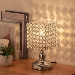 HAITRAL Bedside Table Lamps Square Crystal Night Lamp with Lampshade Ideal Gifts $23.90