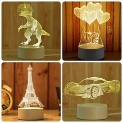 3D LED Night Light Lamp Illusion USB Kids Baby Bedroom Table Decor Gifts Novelty $19.98
