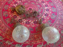 vintage lighting: pair 2 Hanging Swag Lamps w chain amp; glass globes 1960s retro $68.00