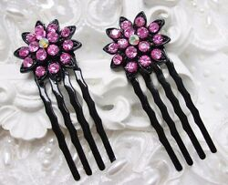 Authentic SOHO Pink Austrian Crystal Side Hair comb Pair Wedding Side combs $19.99