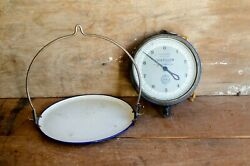antique hanging trade store scale Chatillon New York w enamel pan $165.00