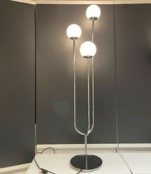 Ikea SIMRISHAMN Floor lamp chrome plated opal glass 62 quot; NEW $150.99