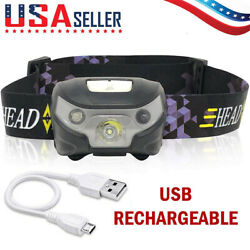 LED Headlamp USB Rechargeable Flashlight Waterproof Head Lamp Torch Camping $9.98