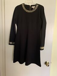 Michael Kors Black Cocktail Dress With Gold Beads Back Gold Logo Zip Size M