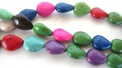 Three 15 inch Strands Multicolor Dyed Magnesite Howlite Oval Beads 12mm Boho DIY $11.04