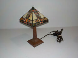 11quot; Tiffany Style Stained Glass Lamp Small Table Desk Night Light Leaded Shade $39.99