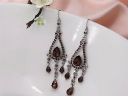 Earrings Silver Long Chandelier Purple Baroque AA9 $24.64