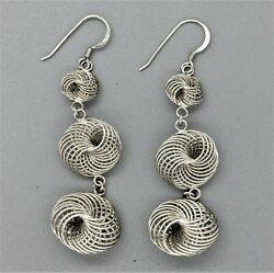 STERLING SILVER MODERN CONTEMPORARY DANGLE DROP SPHERES EARRINGS 925 $13.99