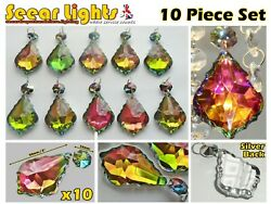 10 VITRAIL IRIDESCENT CHANDELIER CUT GLASS CRYSTALS LEAF DROPS RETRO LIGHT PARTS GBP 21.99