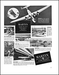 1939 Martin Aircraft commercial Navy patrol planes vintage photo print ad L79
