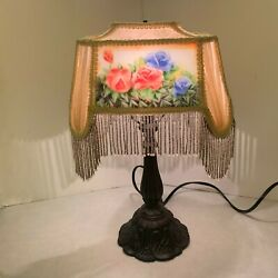Table Lamp Beaded Fabric Lamp Shade with Flower Design Inserts $99.75