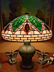 Bradley Hubbard leaded slag glass arts crafts vintage antique lamp handel era $2275.00