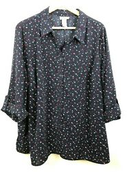 Catherines Top 2x P Petite Button Up Star Blouse Shirt Red White Blue Plus Women $22.13