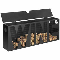 MyGift WINE Wall Mounted Black Metal Wine Cork Catcher Storage Holder with Lid $29.99