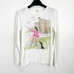 Crewcuts Girls Long Sleeve Graphic Shirt White Size 14 $12.99