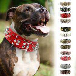 PU Leather Adjustable Spiked Studded Dog Collar 2inch Wide for Large Dog Pitbull $15.99