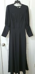 Vintage Black Long Maxi Dress Button Down Sleeves Gothic Victorian $40.70