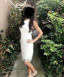 White cocktail bridal knee length floral lace dress Size Small $15.00