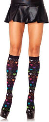 Black Rainbow Star Socks Warm Pirate Kawaii Knee High Leg Avenue GBP 6.99