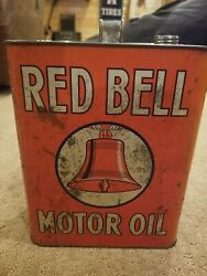 RARE Antique Red Bell Motor Oil Advertising Tin Oil Can As Found $109.95