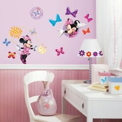 MINNIE MOUSE BOWTIQUE Wall Decals 33 New Girls Bedroom Stickers Peel and Stick $13.98