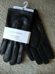Calvin Klein Genuine Leather Touchscreen Black Gloves NEW Sz Large $70 $32.00