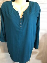 Women's 4X 34 36 Plus Women Within BlueGreen Pullover Convertable Sleeve Blouse $14.50
