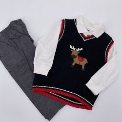 Good Lad boys Christmas three piece outfit size 24M months reindeer vest pants $20.00