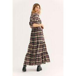 NEW Free People Little Bit of Plaid Maxi Dress XS $118.00