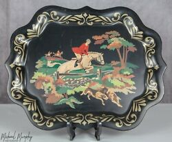 Vintage Tole Tray English Hunt Toleware Serving Horse Fox Hunting Hand Painted $54.95