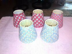 Five Lamp Shades Country Chic floral cloth covered $20.00