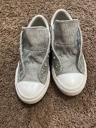 Converse All Star Girls Double Tongue Shoes Sneakers Gray Glitter Pink White 1 $15.00