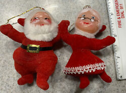 Vintage Flocked Dancing Santa Blue eyed MRS. SANTA CLAUS Christmas Ornament 3quot; $10.99