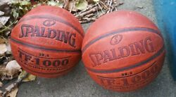 Lot of 2 Spalding TF 1000 Basketball Game Balls Ball Leather 28.5 Used $69.00