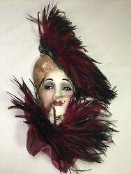 Vintage Ceramic Wall Hanging Lady Face Mask with Feather Hat Scarf Mint $85.00