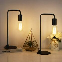 Set of 2 Gooseneck Table Lamp Nightstand Lamp Bedside Lamp Bedroom Office Black $26.99