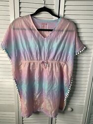 CAT AND JACK Size L 10 12 Girls Beach Cover Up Pastel Rainbow T210 $7.99