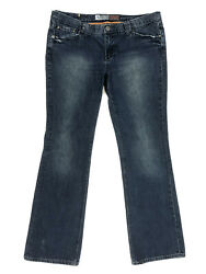 """Mossimo Premium Bootcut Jeans Size 13 Long Juniors Distressed Blue W36"""" L33"""" $14.39"""