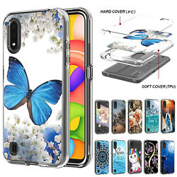 For Samsung Galaxy A01 A21 A51 A10e Hybrid Rubber Pattern Slim Phone Case Cover $8.99