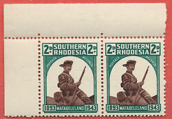 Southern Rhodesia 1943 2d Mounted Pioneer left top corner pair sg 61 MNH GBP 4.00