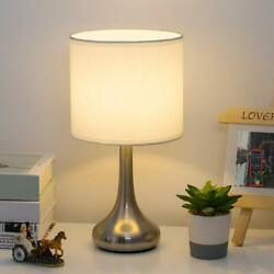 HAITRAL Bedside Table Desk Lamp Small Lamp with Sliver Brushed Nickel Base $19.99